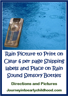 rain sensory bottle directions and labels to place on bottles FREE DOWNLOAD journeyintoearlychildhood.com