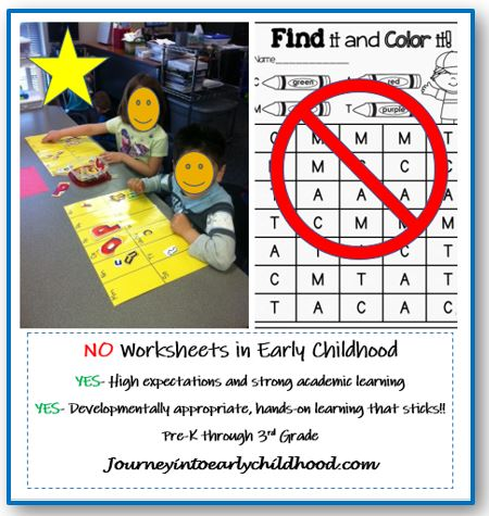 No Worksheets in Early Childhood PartI