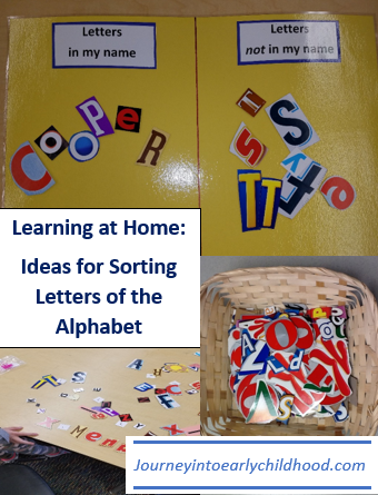 learning at home sorting letters journeyintoearlychildhood.com