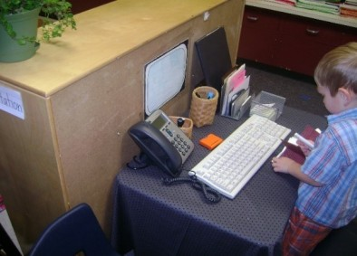 Dramatic Play Office journeyintoearlychildhood.com