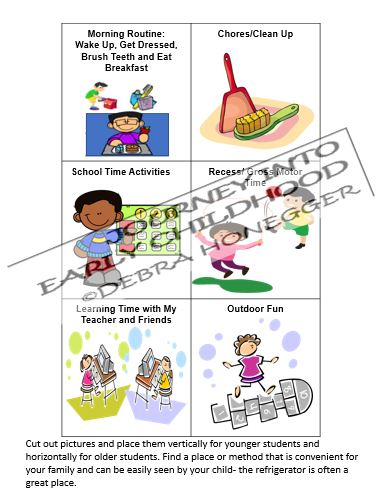 Daily Schedule for At Home Learning journeyintoearlychildhood